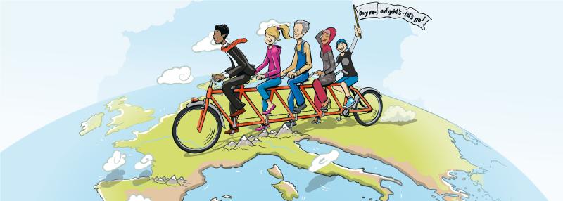 Verschiedene Personen auf einem Fahrrad